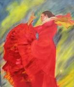 tableau personnages espagne danse mouvement ole : l'Andalouse