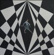 tableau personnages noir et blanc damier danse rythme : Salsa