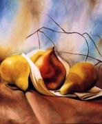 tableau nature morte fruits drape dessert : les Poires