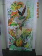 tableau abstrait ornement vert auvray : Ornement