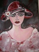 tableau personnages portrait portrait de femme : L'élégante