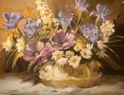 tableau fleurs fleur vase bouquet mauve : composition florale mauve
