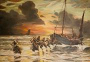 tableau marine bateaux pecheurs mer tempete : les flobarts