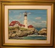 tableau marine phare mer portland vacances : LE head light house