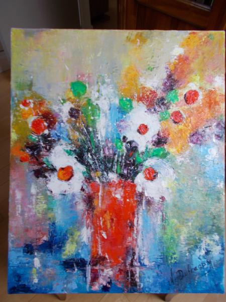 TABLEAU PEINTURE FEU DE FLEURS Fleurs Peinture a l'huile  - FEU DE FLEURS