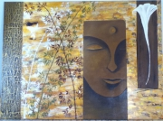 tableau personnages bouddha marron bambou : Boudha
