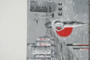 tableau villes gris ville femme nuit : ballade de nuit