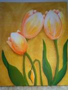 tableau fleurs tulipe jaune vert fleur : tulipe