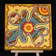 tableau fleurs acrylique papier fleurs jaune : Power Flower