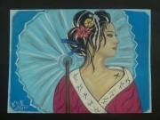 dessin fleurs asie chine pastels ombrelle : L OMBRELLE