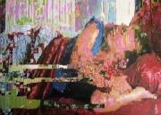 tableau personnages femme reve sommeil lit : Songerie