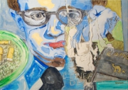 tableau personnages woody allen reflexion reverie lunettes : Woody