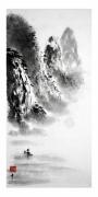 tableau paysages peinture chinoise pecheur aux cormoran montagnes et eau zen : pêcheur sur la rivière
