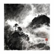 tableau paysages paysage de montagne asie noir et blanc riviere : Rivière tumultueuse