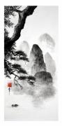 tableau paysages peinture chinoise noir et blanc montagne et eau encre de chine : Paysage de Chine