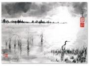 tableau paysages sumie encre de chine paysage heron : Le héron