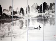 tableau paysages chine paysage encre de chine image traditionnelle : Le pêcheur de Guilin