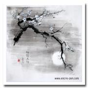tableau fleurs japon encre de chine fleurs clair de lune : Cerisier en fleur
