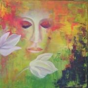 tableau personnages : fleurs blanches