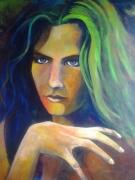 tableau personnages portrait femme fluo : regard