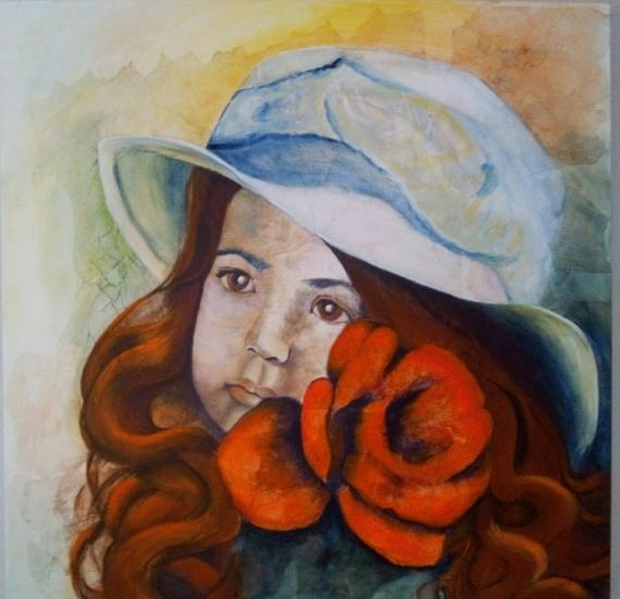 TABLEAU PEINTURE enfant chapeau rose fluo Personnages Acrylique  - le chapeau