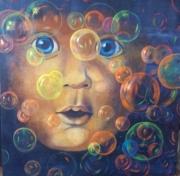 tableau personnages enfant bulles fluo : envol