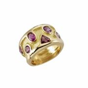 bijoux abstrait bague anneau grenat ring : Bague zigzag