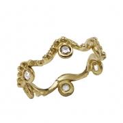 bijoux abstrait or mariage alliance diamant : alliance ondine  6 diamants