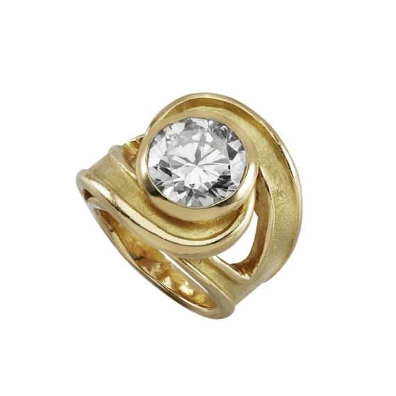 BIJOUX bague or diamant fiançaille Abstrait  - bague tornade or et diamant