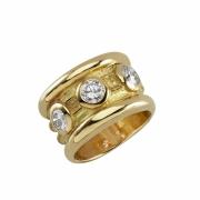 bijoux abstrait bague or diamant : Anneau médiéval trilogy