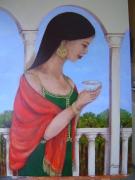 tableau personnages femme terrasse scene de vie balcon : Le balcon