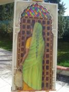 tableau personnages femme asie inde porte : LE SARI VERT