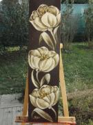 tableau fleurs fleurs moderne tulipes irisees : Tulipes