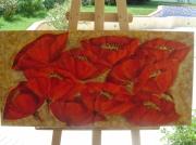 tableau fleurs fleurs rouge coquelicots champs : Les coquelicots