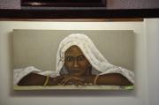 tableau personnages visage regard femme orientale : L'attente