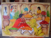 tableau scene de genre femme inde marche fruits : Le marché