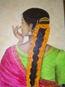 tableau personnages femme inde orient meditation : Méditation