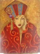 tableau personnages femme russe rouge melancolie : Mélancolie