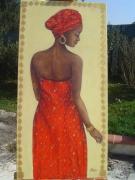 tableau personnages femme afrique rouge portrait : La tunique rouge
