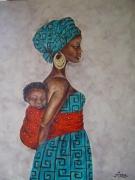 tableau personnages femme enfant afrique mere : La mère et l'enfant
