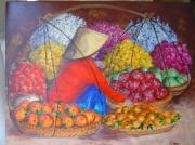 tableau scene de genre femme asie vietnam fruits : Les fruits