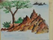 tableau paysages provence ile paysage mediterranee : îlot en provence