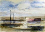 other marine bassin arcachon aquarelle : barque sur le bassin