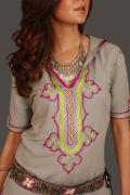 art textile mode autres djellaba maroc lin broderie : djellaba en lin grise