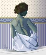 art numerique personnages bain femme woman bathroom : Jeune femme au bain