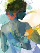 art numerique scene de genre femme bain fauvisme expressionnisme : jeune femme sortant du bain