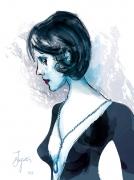 art numerique scene de genre femme collier sautoir argent : La jeune femme au sautoir d'argent