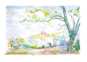 dessin paysages provence sud mediterrannee couleurs : Paysage provençal