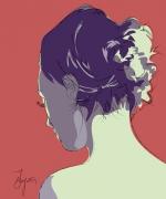 art numerique personnages femme pop art dos nu : Jeune Femme vue de dos