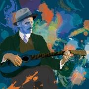 art numerique personnages ireland joyce dublin ulysse : James Joyce à la guitare